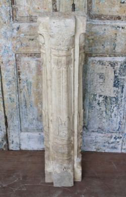 19th Century Sandstone Pillar with Ardash Plaster Work from a Haveli <b>sold<b>